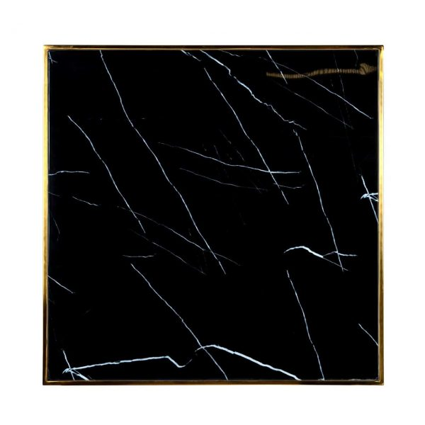 7222 - Eettafel Can Roca square black 70x70 (Goud)