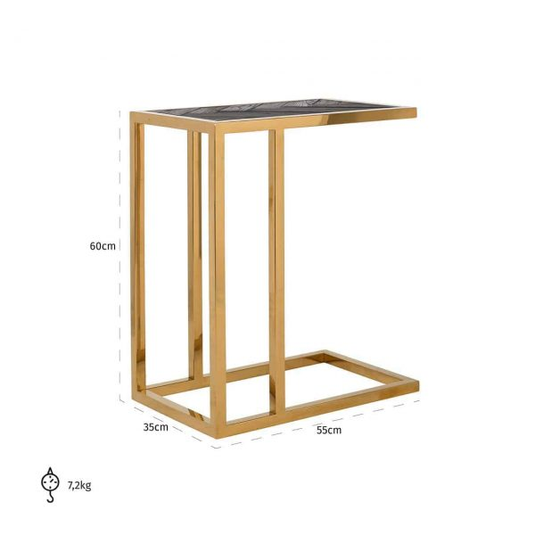 7436 - Sofa tafel Blackbone gold (Goud)