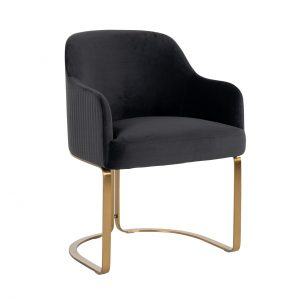 S4492 ANTRACIET VELVET - Stoel Hadley Antraciet velvet / Brushed gold (Quartz Antraciet 801)